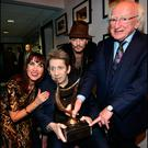 Johnny Depp and President Michael D Higgins with Shane MacGowan and Victoria Mary Clarke at his 60th Birthday Celebration Concert at the National Concert Hall . Pic Steve Humphreys 15th January 2018