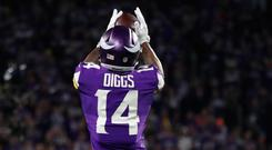 Stefon Diggs catches the ball above the head of Marcus Williams, whose missed tackle allowed the Vikings wide receiver to score the game-winning touchdown Photo: Brace Hemmelgarn-USA TODAY Sports