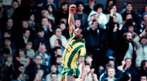 Cyrille Regis celebrates after scoring a hat-trick for West Brom against Birmingham in 1981 Photo: Bob Thomas/Getty Images