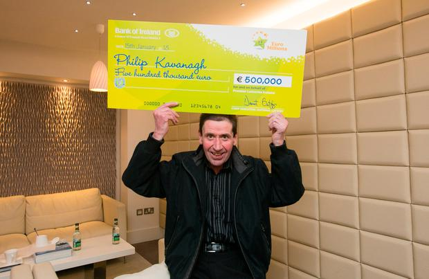 Philip Kavanagh from Bunclody, Wexford at National Lottery Offices, Dublin after he collected a cheque for €500,000 following his win on the Euro Millions Plus draw. Photo Gareth Chaney, Collins