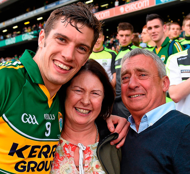David Moran with his parents Anne and Ogie after Kerry's victory over Donegal in the 2014 All-Ireland SFC final Photo: Stephen McCarthy / SPORTSFILE