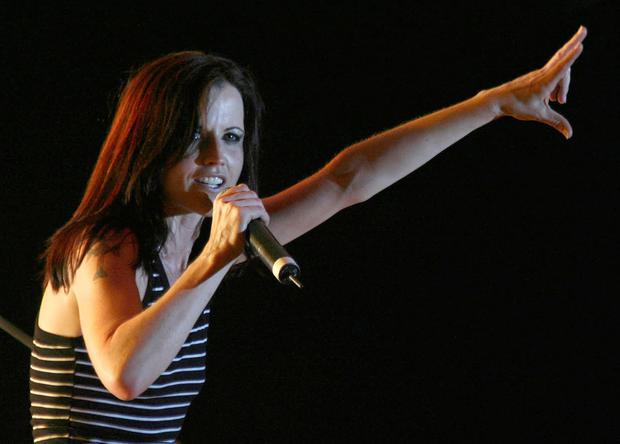 Dolores O'Riordan, performs on stage during a concert in Tirana, early June 20, 2007. REUTERS/Arben Celi /File Photo