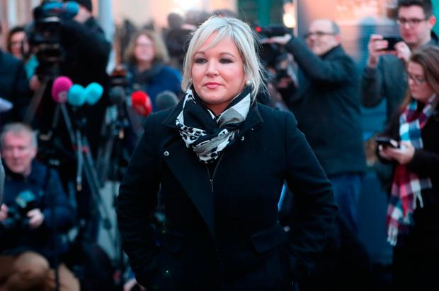 Michelle O'Neill arrives to speak to the media yesterday. Photo: PA