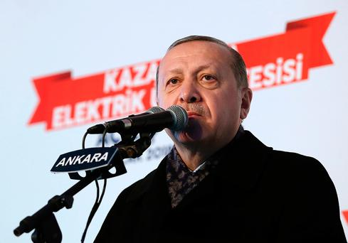 """Yesterday, Turkish President Recep Tayyip Erdogan could barely contain his rage. """"A country we call an ally is insisting on forming a terror army on our borders,"""" he said in a speech in Ankara Photo: AP"""