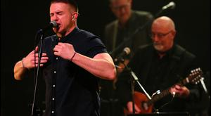 Damien Dempsey performing at Shane MacGowan's 60th Birthday Celebration Concert at the National Concert Hall. Picture: Steve Humphreys