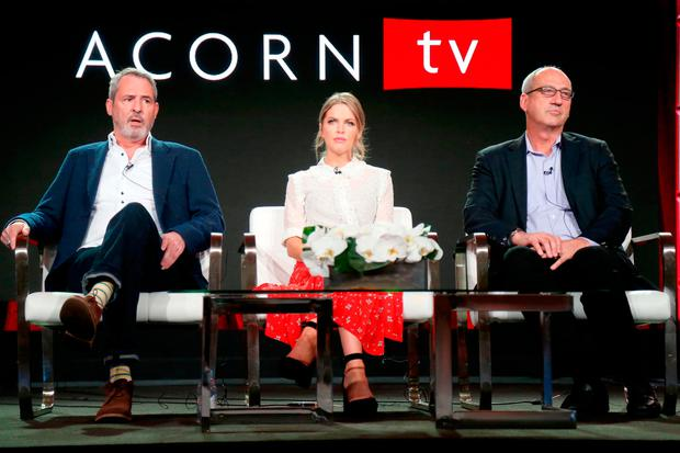 (L-R) Actors Neil Morrissey and Amy Huberman, and RLJ Entertainments Chief Content Officer for Acorn brands Mark Stevens of 'Striking Out' speak onstage during the Acorn TV portion of the 2018 Winter Television Critics Association Press Tour at The Langham Huntington, Pasadena on January 15, 2018 in Pasadena, California. (Photo by Frederick M. Brown/Getty Images)