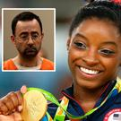 Simone Biles and (inset) Larry Nassar