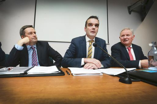 IFA President Joe Healy, flanked by General Secretary Damian McDonald and IFA Deputy President Richard Kennedy, pictured addressing the 63rd Annual General Meeting of the Irish Farmers Association in Dublin today.