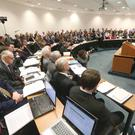 IFA President Joe Healy pictured addressing the 63rd Annual General Meeting of the Irish Farmers Association in Dublin.