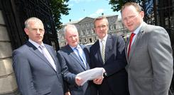 Tim Cullinan, third from left, before an Oireachtas Ag Committee appearance on inspections earlier this year.
