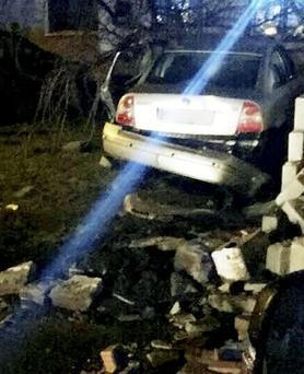 The car which crashed through a wall outside a house in Dublin's East Wall