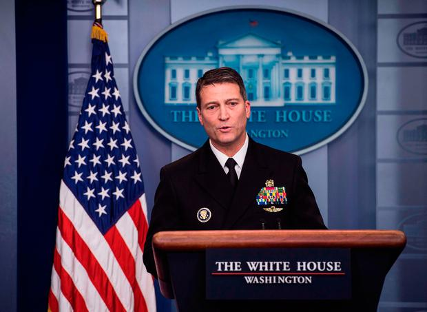 White House physician Rear Admiral Ronny Jackson speaks at the press briefing at the White House in Washington, DC, on January 16, 2018 (Photo: AFP/Getty images)