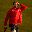 Gerbrandt Grobler has a private moment during Munster's training session at the University of Limerick. Photo by Diarmuid Greene/Sportsfile