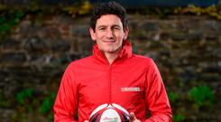 Keith Andrews at the launch of the SPAR FAI Primary School 5s Programme at Scoil Mhuire CBS, Dublin. Photo: Seb Daly/Sportsfile