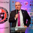 FAI Director of Competitions Fran Gavin speaking at the More Than A Club, Bohemian FC launch at Dalymount Park in Dublin. Photo: David Fitzgerald/Sportsfile