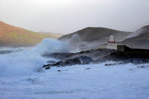 Storm Fionn arrives on Valentia Island, Co Kerry, with its storm force winds dumping rain and sleet on The Kingdom Photo: Don MacMonagle