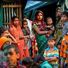 Rohingya refugees outside their makeshift shelters at Kutupalong refugee camp near Cox's Bazar, Bangladesh. Photo: AP
