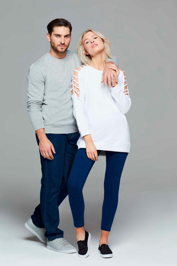Models wear clothes from the new range