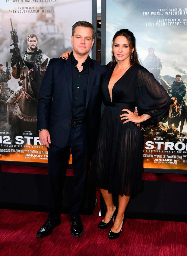 Actor Matt Damon and his wife Luciana Barroso attend the world premiere of