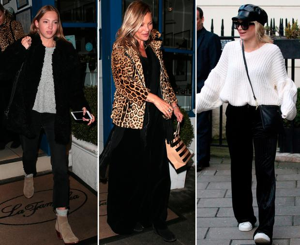 (L to R) Lila Grace Moss Hack, Kate Moss and Lottie Moss at Kate's 44th birthday celebrations in Mayfair