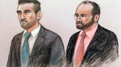 Court artist sketch by Elizabeth Cook of Vincent Tappu (left) and Mujahid Arshid in the dock of the Old Bailey, London where Arshid is on trial accused of the kidnap, rape and murder of his niece, Celine Dookhran, and the attempted murder of another woman, who cannot be identified for legal reasons, in July last year. Elizabeth Cook/PA Wire