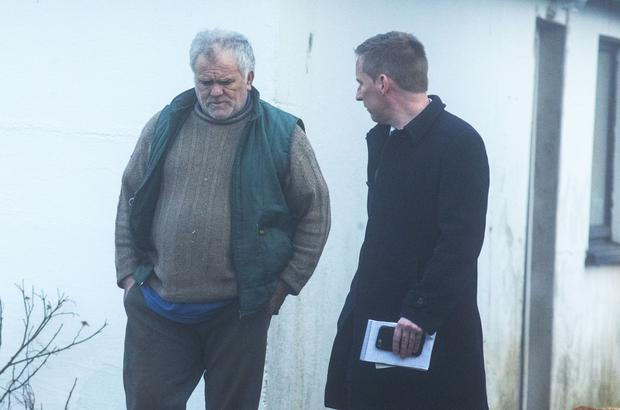 Pat O'Connell speaking with Donal Kavanagh at his home outside Carrick on Suir Co Tipperary.