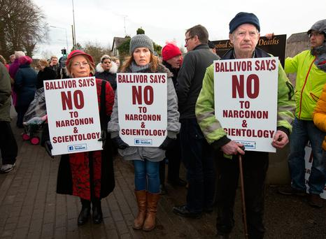 Local Ballivor residents protest outside the old National School against the proposed Scientology Narconon centre in the village. Photo: Tony Gavin