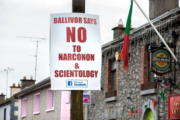 Signs in Ballivor protest against a proposed Scientology Narconon centre in the village. Photo: Tony Gavin