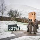 The Titanic memorial park in Lahardaun, Co Mayo with Nephin Mountain covereed in snow in the background. Photo: Keith Heneghan