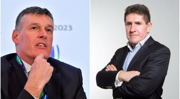 IRFU chief executive Philip Browne (left) and Sunday Independent journalist Paul Kimmage (right).