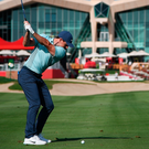 Rory McIlroy hits a shot in practice ahead of the Abu Dhabi HSBC Golf Championship. Photo: Getty Images