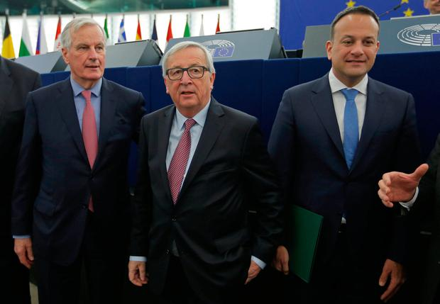Taoiseach Leo Varadkar, European Union's chief Brexit negotiator Michel Barnier, left, and European Commission President Jean-Claude Juncker attend a debate on the Future of Europe at the European Parliament in Strasbourg. Photo: Vincent Kessler