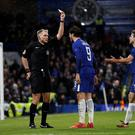 Chelsea's Alvaro Morata is shown a second yellow card by referee Graham Scott Action Images via Reuters/Peter Cziborra