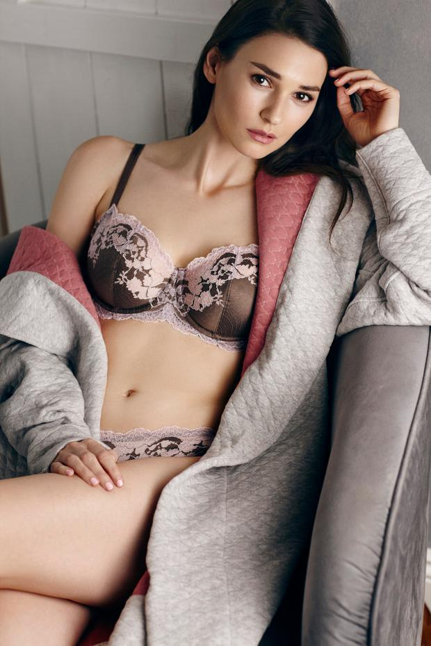 Hooded cotton grey robe with pink lining, €249, Yawn; Mink satin bra (sizes 32D–38F)with pink lace trim, €62, and matching briefs, €29, Wacoal