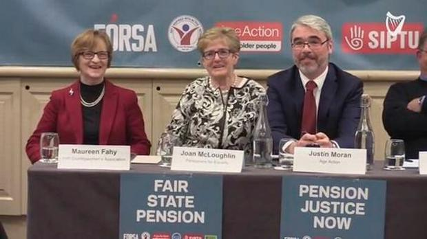 Maureen Fahy, Joan McLoughlin representing Pensioners for Equality, and Justin Moran of Age Action pictured at a meeting on the state pension yesterday