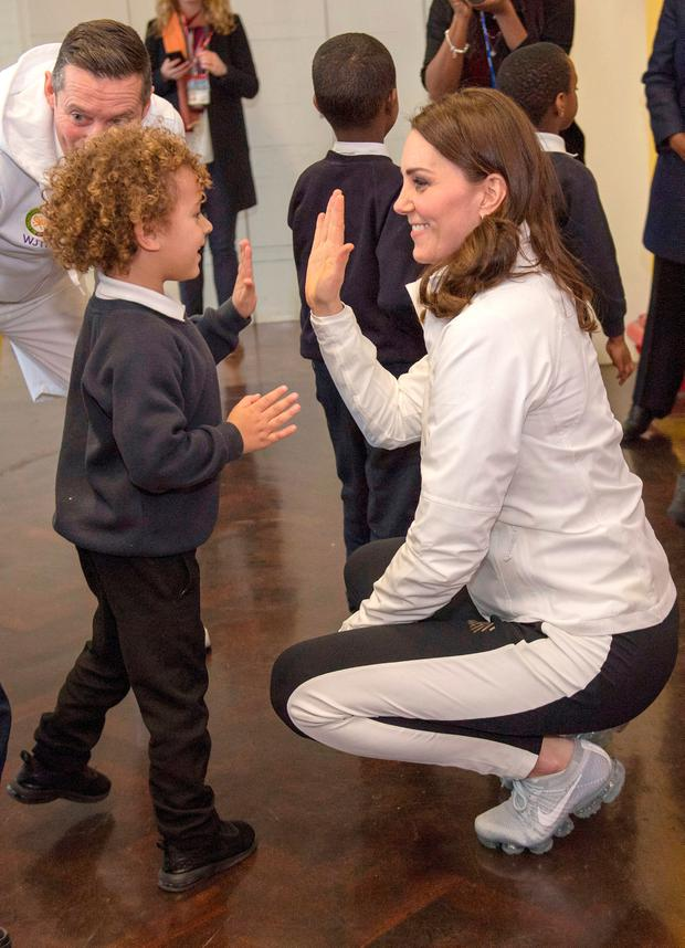 Britain's Catherine, the Duchess of Cambridge, visits Bond Primary School in Mitcham to see the work of the Wimbledon Junior Tennis Initiative, in London, January 17, 2018. REUTERS/Arthur Edwards/Pool