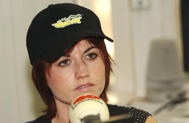 MADRID, SPAIN - SEPTEMBER 12: Dolores O'Riordan, singer of musical group The Cranberries, answers questions during an interview for the promotion of her new album 'Stars: The Best of the Cranberries 1992-2002' at 40 Principales Station September 12, 2002 in Madrid, Spain. (Photo by Carlos Alvarez/Getty Images)