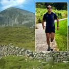 Graham Dunne pictured wearing a 'Gaelforce West 2013 t-shirt' and inset, Croagh Patrick
