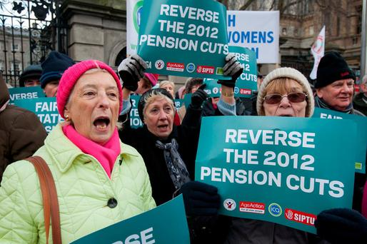 18/01/2018 (L to R) Colette Pearson from Swords Barbara Iriain from Santry Esther Walsh from Pearse St during a Pension Protest at Leinster House on kildare Street, Dublin. Photo Gareth Chaney Collins