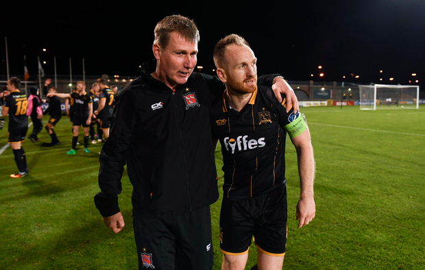 10 October 2017; Dundalk manager Stephen Kenny and Stephen ODonnell following the Irish Daily Mail FAI Cup Semi-Final Replay match between Shamrock Rovers and Dundalk at Tallaght Stadium in Tallaght, Dublin. Photo by Stephen McCarthy/Sportsfile