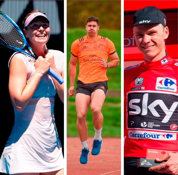Maria Sharapova (left), Gerbrandt Grobler (centre) and Chris Froome (right).