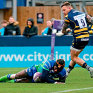 Niyi Adeolokun of Connacht scores a try during the European Rugby Challenge Cup Pool 5 Round 5 match between Worcester Warriors and Connacht at the Sixways Stadium, in Worcester, England. Photo by Malcolm Couzens/Sportsfile