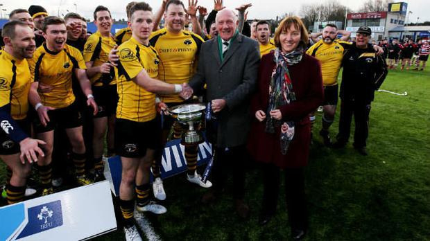 Gavin Kennedy accepts the All Ireland Junior Cup last season