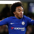 Willian: Penalty controversy. Photo: Adrian Dennis/AFP