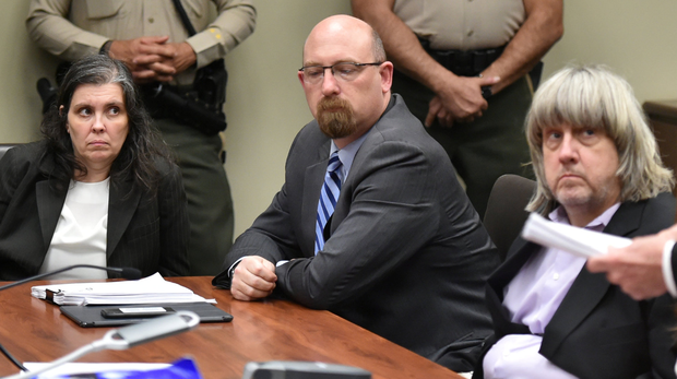 The Turpins in court in Riverside, California, yesterday where they denied the charges. Photo: Reuters