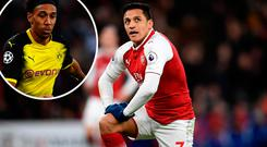 Alexis Sanchez and (inset) Aubameyang