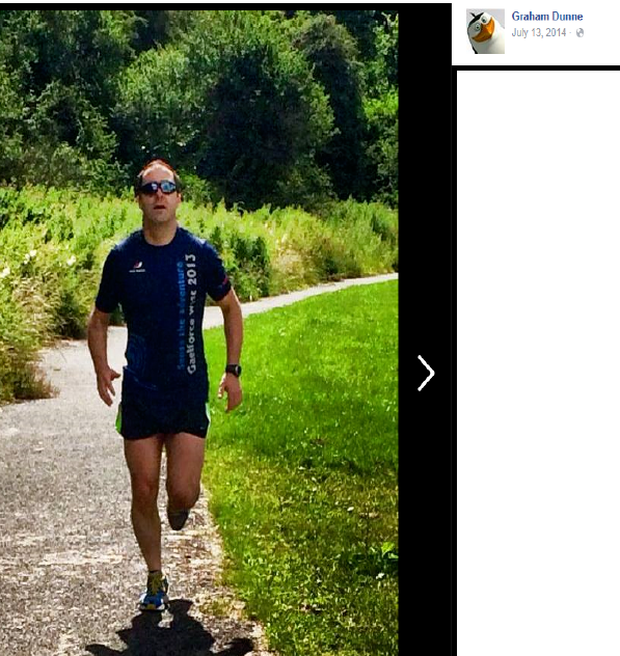 Graham Dunne pictured jogging while wearing a Gaelforce West 2013 t-shirt