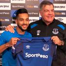 Everton new signing Theo Walcott with manager Sam Allardyce