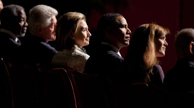 President Barack Obama, with from left; Kofi Anna, former Secretary General of the United Nations, for President Bill Clinton, Secretary of State Hillary Rodham Clinton, and Samantha Power, NSC Director of Multilateral Affairs, listen to one of the speakers at Ambassador Richard Holbrooke's memorial service at the Kennedy Center in Washington, D.C., Jan. 14, 2011. (Official White House Photo by Pete Souza)