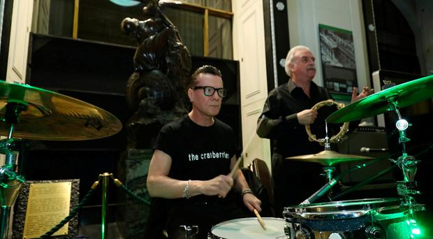 Larry Mullen plays drums and Marty Whelan joins in at Eric's Party at the GPO Pic Maxpix.
